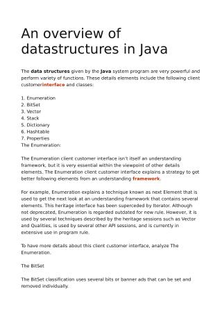 An overview of datastructures in Java