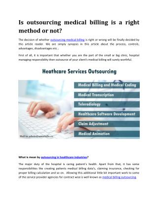 Is outsourcing medical billing is a right method or not