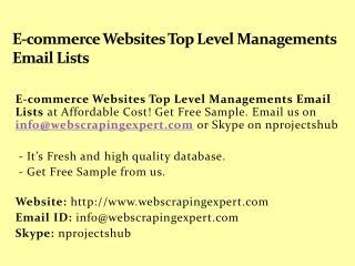 E-commerce Websites Top Level Managements Email Lists