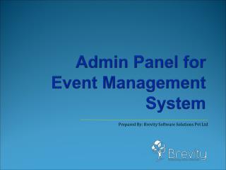 Admin Panel for Event Mangement System
