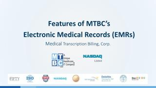 Features of MTBC Electronic Medical Records (EMRs)