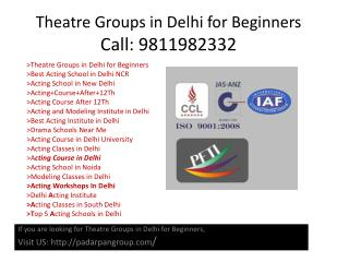 Theatre Groups in Delhi for Beginners, Drama Schools Near Me, Modeling School in India