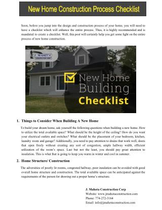 New Home Construction Process Checklist
