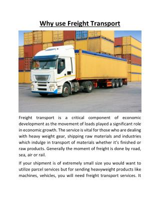 Why use Freight Transport