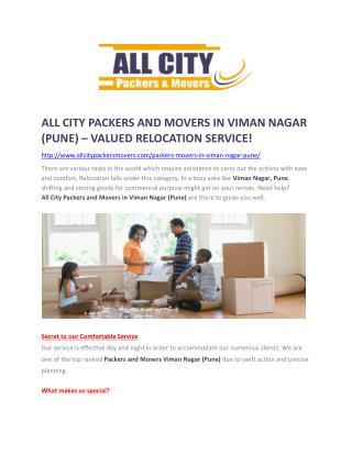 Packers and Movers in Viman Nagar (Pune) -All City Packers and Movers®