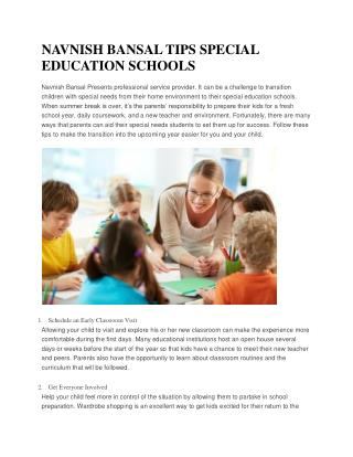 NAVNISH BANSAL TIPS SPECIAL EDUCATION SCHOOLS