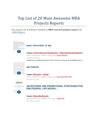 Top List of 20 Most Awesome MBA Projects Reports