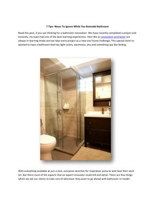 7 Tips-Never to Ignore While You Remodel Bathroom