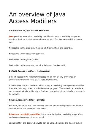 An overview of Java Access Modifiers