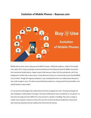 Evolution of  mobile phones - Buynuse.com