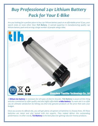 Buy Professional 24v Lithium Battery Pack for Your E-Bike