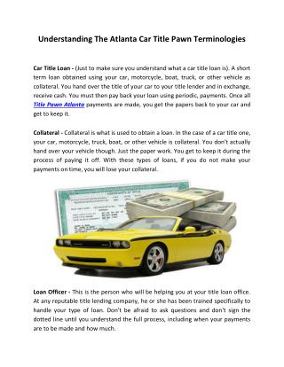 Understanding The Atlanta Car Title Pawn Terminologies