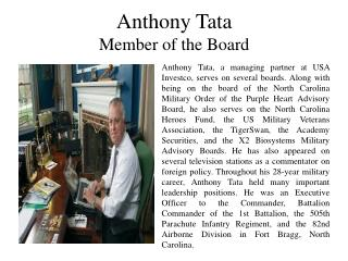 Anthony Tata Member of the Board