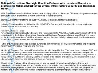 National Corrections Oversight Coalition Partners with Homeland Security to promote the National Effort for the Critical