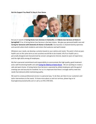 Caring For Elderly at Home Dover