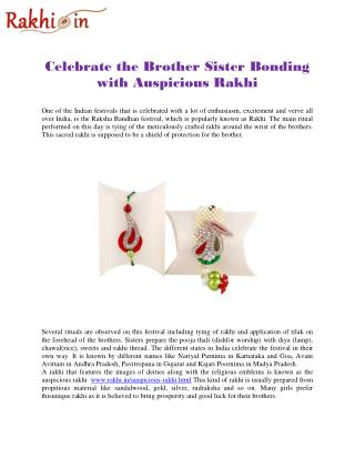 Celebrate the Brother Sister Bonding with Auspicious Rakhi