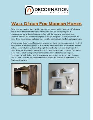 Wall D�cor For Modern Homes