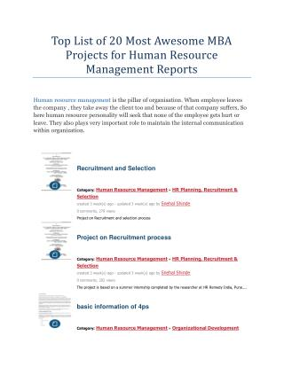 Top List of 20 Most Awesome MBA Projects for Human Resource Management Reports