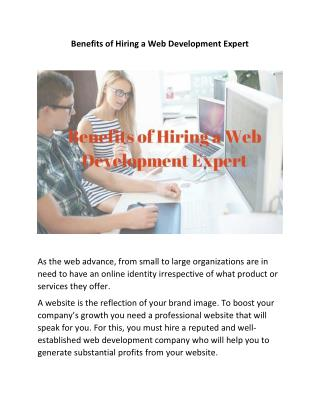 Benefits of Hiring a Web Development Expert