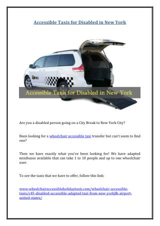 Accessible Taxis for Disabled in New York