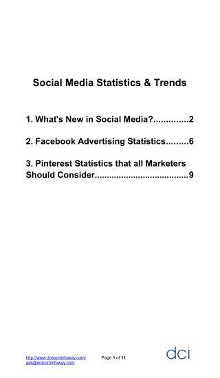 Social Media Statistics and Trends