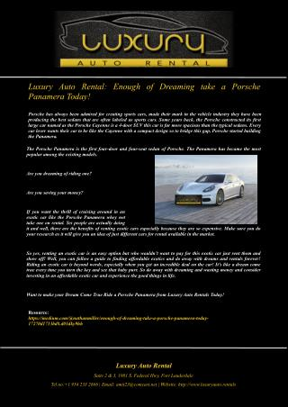 Luxury Auto Rental: Enough of Dreaming take a Porsche Panamera Today!