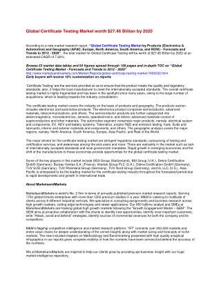 Global Certificate Testing Market