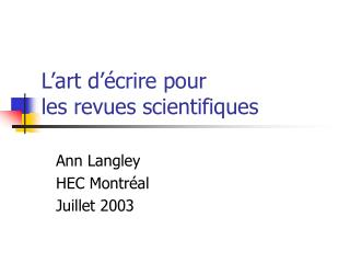 L art d  crire pour  les revues scientifiques
