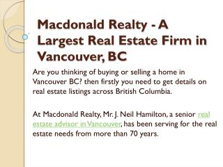 Macdonald Realty - A Largest Real Estate Firm in Vancouver, BC