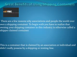 Points To Be Consider While Purchasing Shipping Containers
