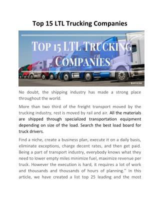 Top 15 LTL Trucking Companies