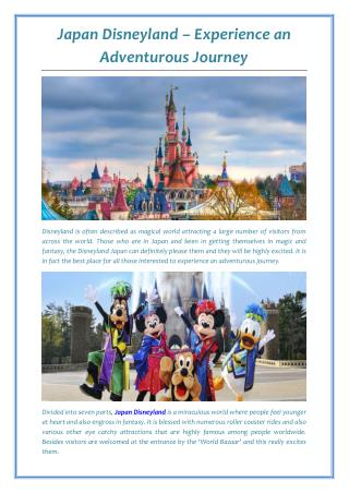 Japan Disneyland – Experience an Adventurous Journey