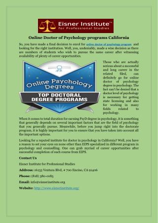 Online Doctor of Psychology programs California