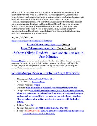 SchemaNinja review and (FREE) $12,700 bonus-- SchemaNinja Discount