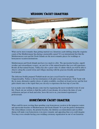 Wedding Yacht Charter Turkey