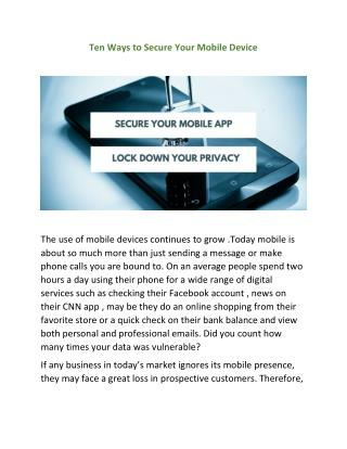 Ten Ways to Secure Your Mobile Device.