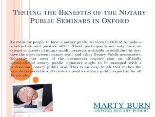 Testing the Benefits of the Notary Public Seminars in Oxford