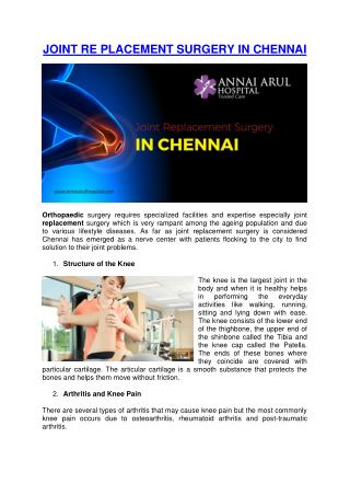 JOINT RE PLACEMENT SURGERY IN CHENNAI