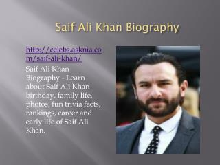 Saif Ali Khan Biography | Biography Of Saif Ali Khan