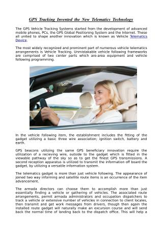 Telematics Technology By GPS Tracker