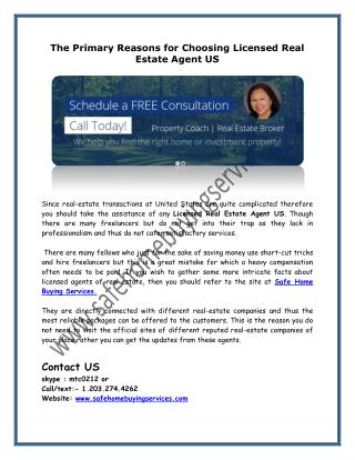 The Primary Reasons for Choosing Licensed Real Estate Agent US