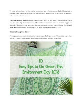 10 Easy Tips to Go Green This Environment Day 2016