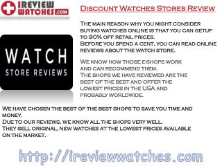 Best Online Watch Store Reviews by Ireview watches