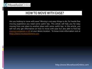 Know How to Move with Ease in US?