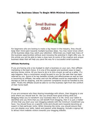 Top Business Ideas To Begin With Minimal Investment