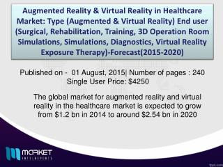 Augmented Reality & Virtual Reality in Healthcare Market Analysis to 2020