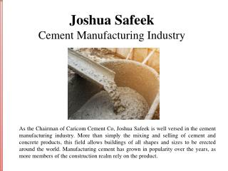 Joshua Safeek and the Cement Manufacturing Industry