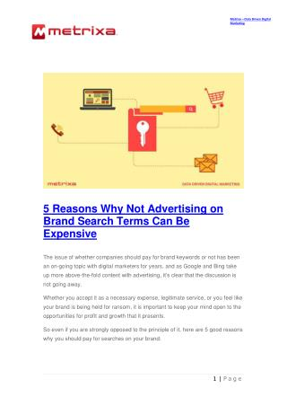 5 Reasons Why Not Advertising on Brand Search Terms Can Be Expensive