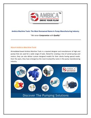 Ambica Machine Tools - Leading Pump Manufacturer & Supplier