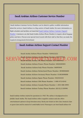 Saudi Arabian Airlines Customer Support Number